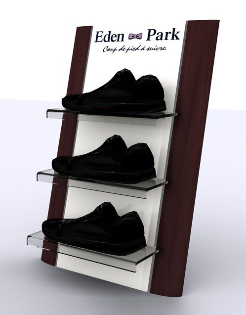 fabrication de pr sentoir de comptoir pour chaussures eden. Black Bedroom Furniture Sets. Home Design Ideas