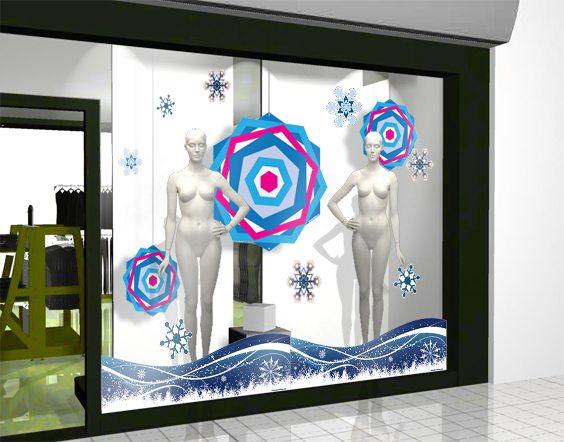 décoration vitrine hiver