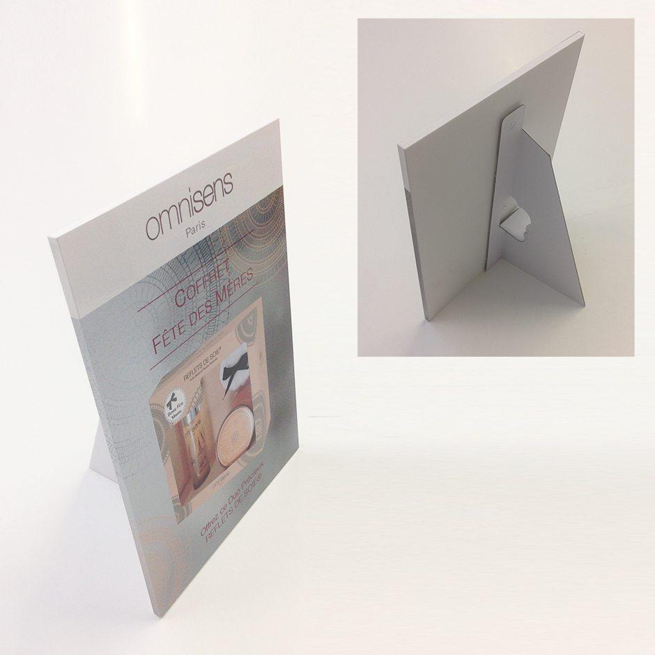 Impression PVC rembordé chevalet Omnisens