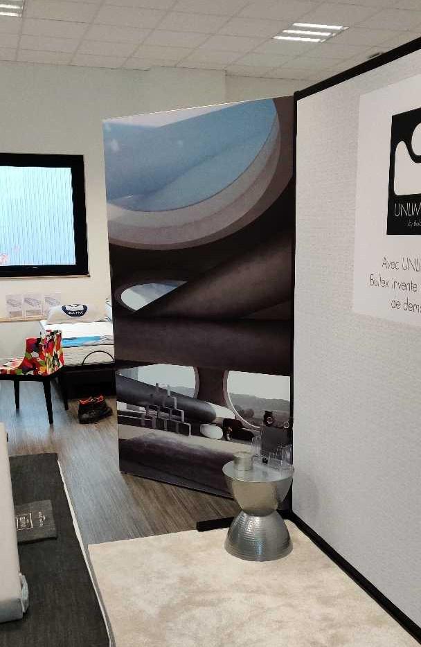 PLV de showroom pour literie Bultex Cofel